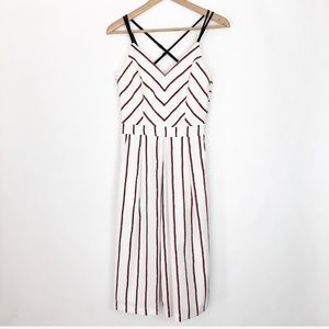 Adelyn Rae White Striped Cropped Jumpsuit Size XS